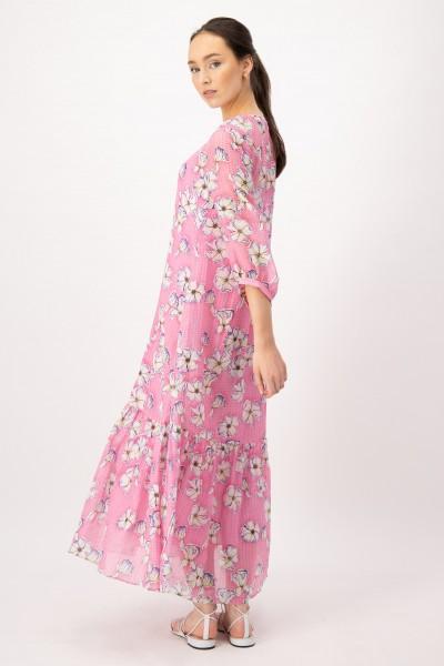 Viskose Maxi Kleid mir Blumenmuster Pink
