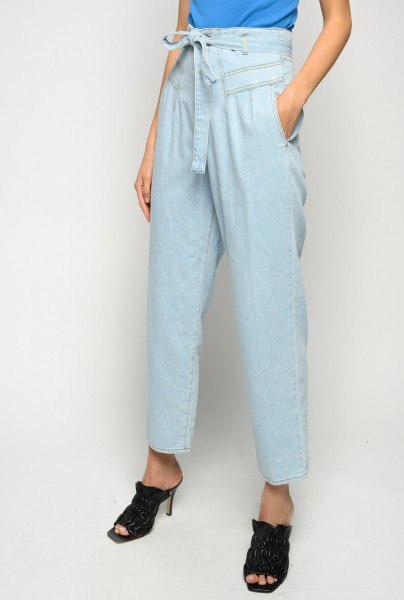 Cropped Jeans mit Bindegürtel in Hellblau CHERYL
