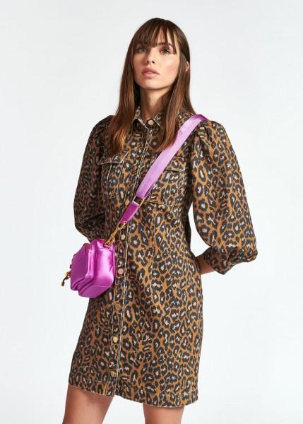 Jeanskleid mit Puffärmel Leoparden Print