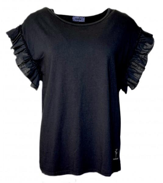 T-Shirt mit Rüschen am Arm in Schwarz und Weiß