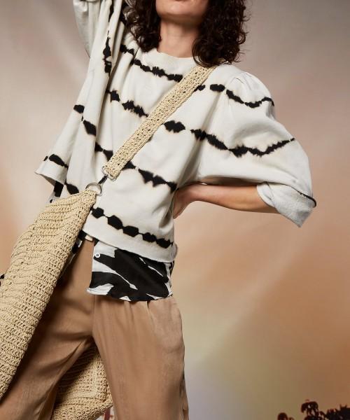 Sweatshirt mit Puffärmel und Tie Dye Print in Hellbeige