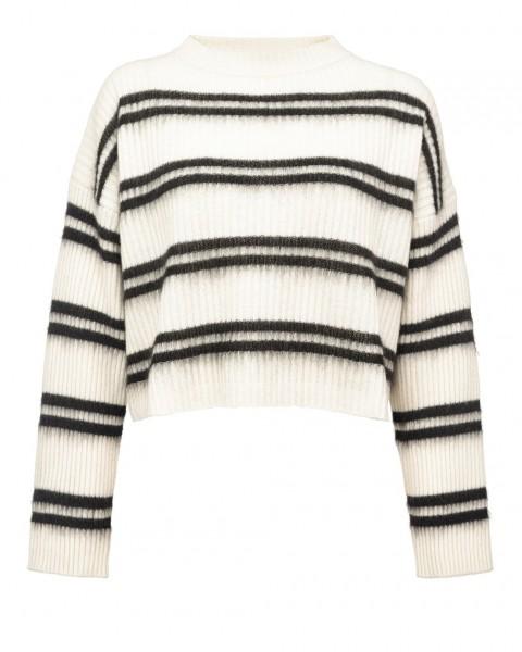 """Pullover mit Streifen in kurzer kastiger Form """"Barbera"""" Ecru mit Schwarz"""