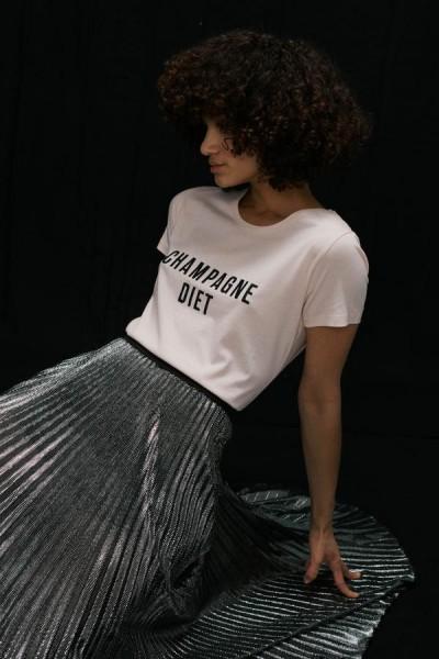 T-Shirt mit 1/2 Arm Champagner Diet Weiß