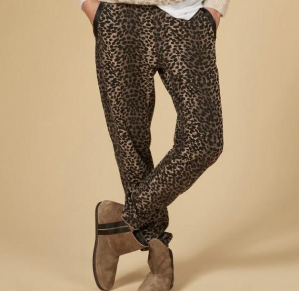 Jogging Pants mit Leoparden Print Braun-Schwarz