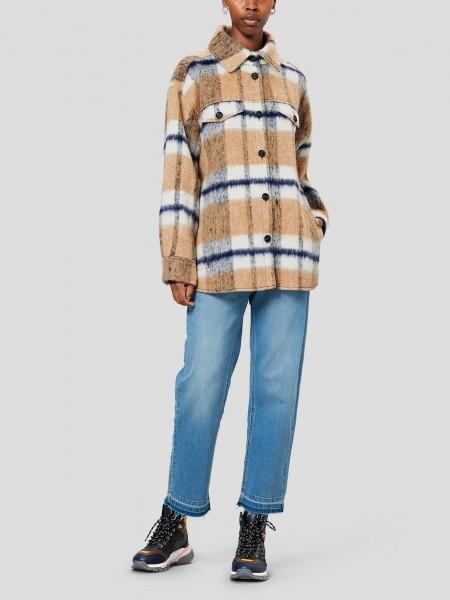 Overshirt Karo Jacke aus weichem Wolle-Mix in Camel