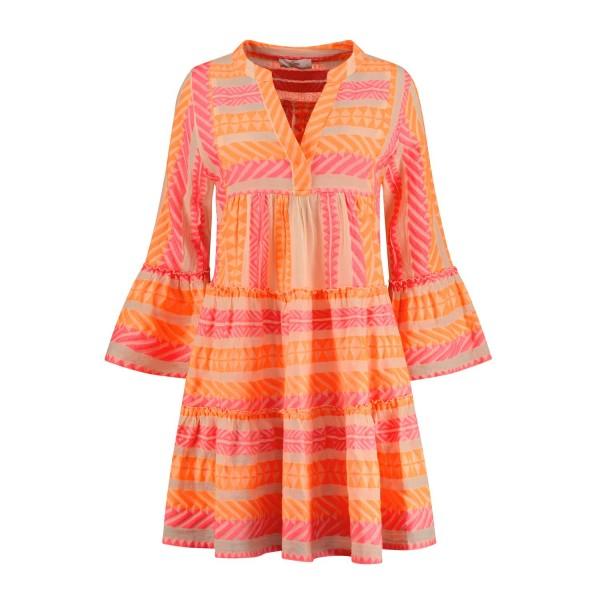Tunika Kleid Ethno Muster ELLA Short in Neon Orange Pink
