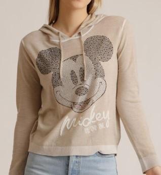 Pullover mit Kapuze Merinowolle Beige mit Mickey Motiv