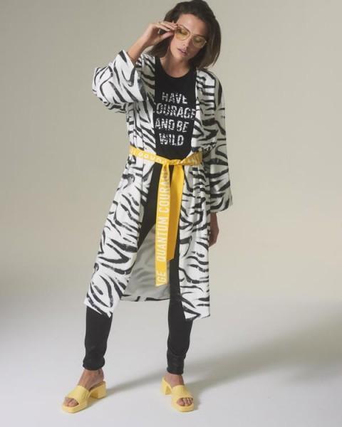 Kimono mit Zebra Print und Logo Gürtel Schwarz / Weiß