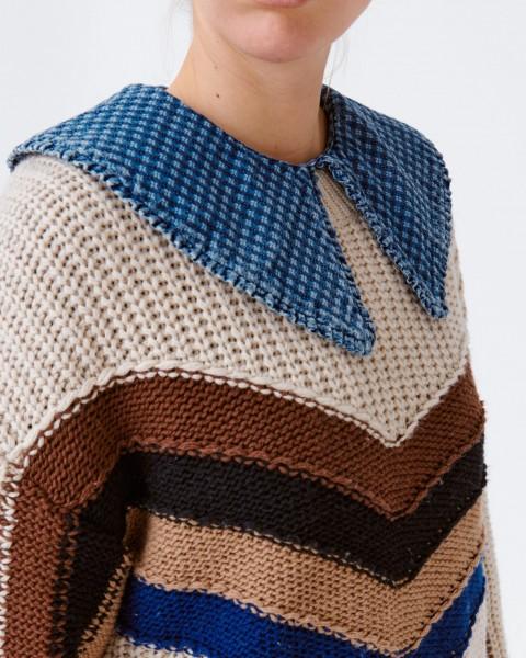Pullover mit eingestrickten Streifen im Bio Baumwoll-Mix Ecru