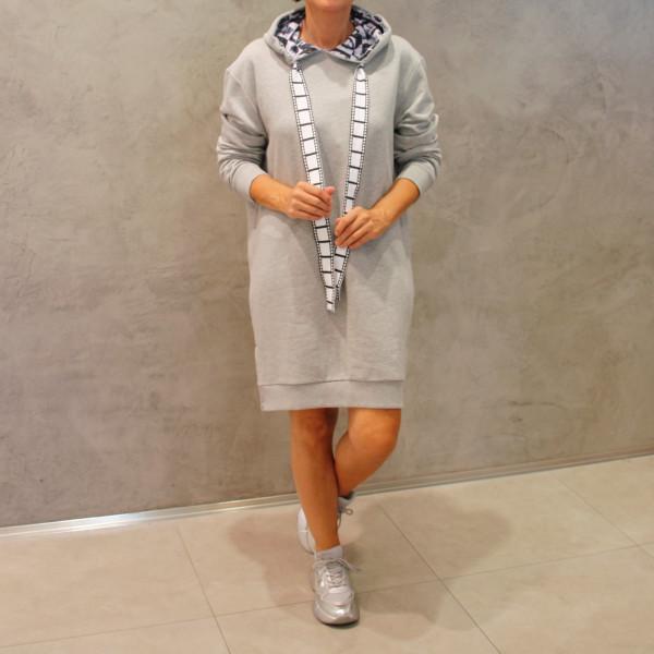 Sweatshirt Kleid Hoodie Dress Icon Hellgrau