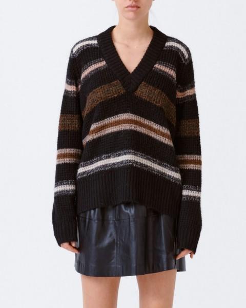 Pullover mit V-Ausschnitt und verschiedenen Streifen Schwarz
