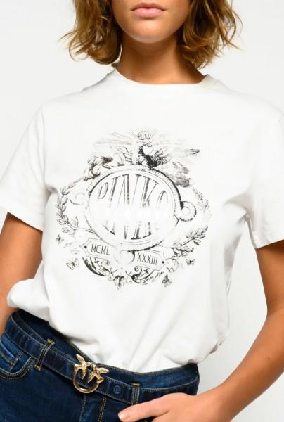 T-Shirt 1/2 Arm Weiß mit Silber Druck