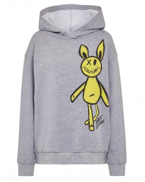 Hoodie Sweatshirt Rabbit in Grau Melange