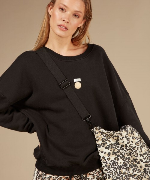 LAST PIECE Sweatshirt mit Folienprint in Schwarz