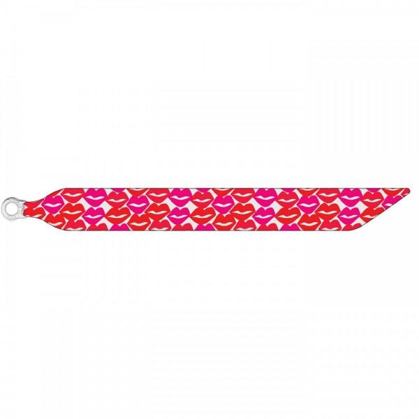Seidenarmband mit einem versilberten Verschluss mit Muster PINK LIPS