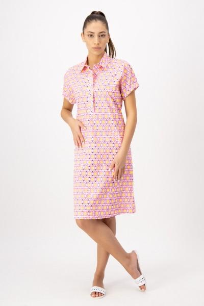Kleid mit Retro Print und gerafftem 1/2 Arm Pink-Gelb