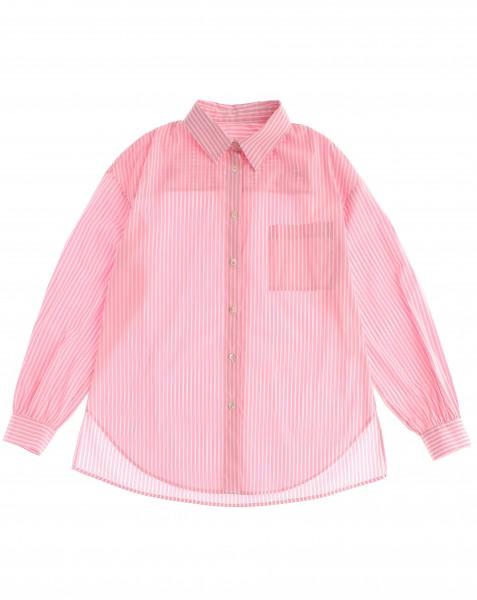 Streifenhemd mit Rückenprint Rosa