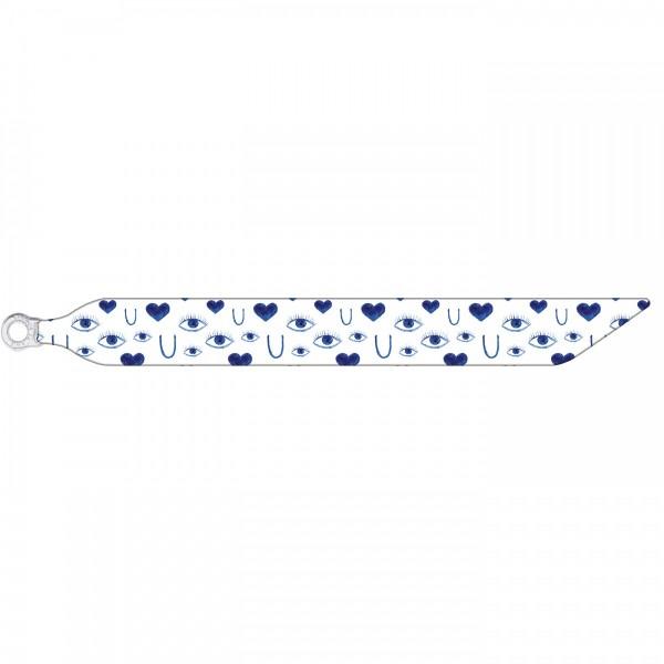 Seidenarmband mit einem versilberten Verschluss mit Muster EYE LOVE U