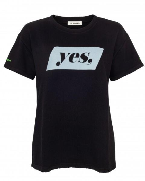 Lässiges 1/2 Arm Sweatshirt mit Aufschrift YES in Weiß, Skin, Schwarz