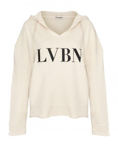 Hoodie mit V-Ausschnitt und LVBN Print in Cream