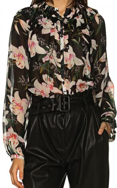 Bluse semi transparent mit Blumen Print und Ballon-Ärmeln