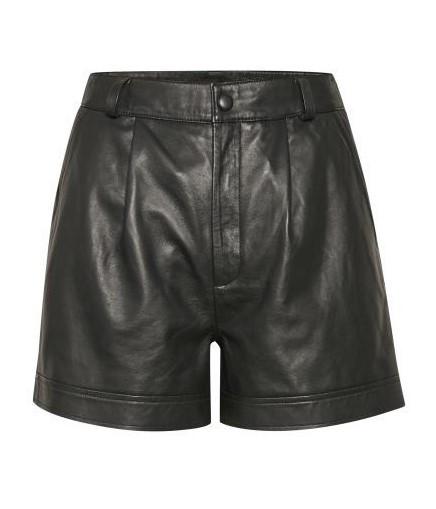 Leder Shorts in Schwarz