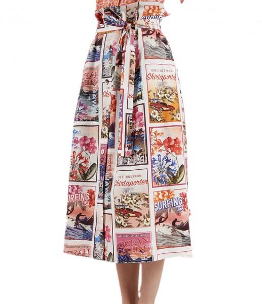 Druckrock im Baumwolle mit Postkartenmotiven Pink