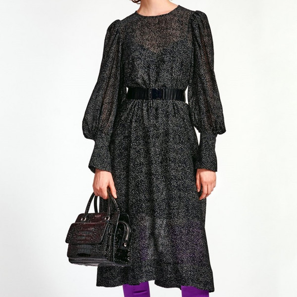 Kleid Midi mit Punkten in Schwarz/Weiß
