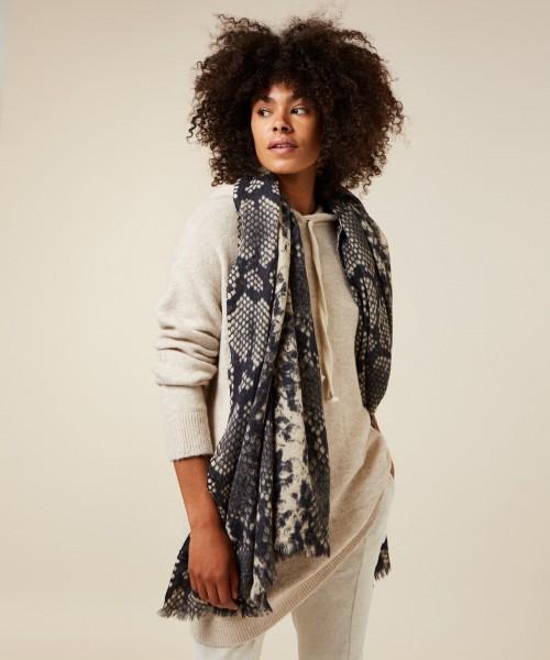 Schal aus Wolle mit Schlangenprint