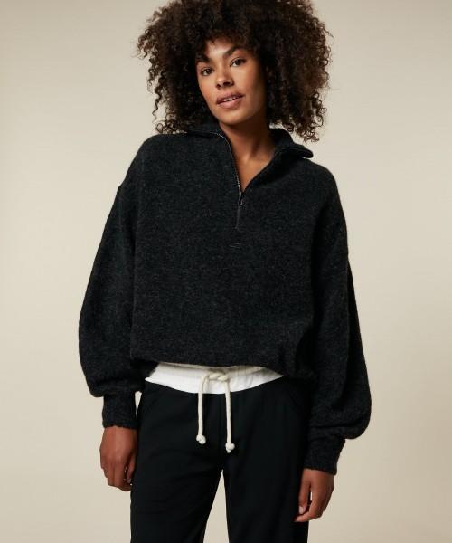 Pullover in Alpaka-Mix mit Stehkragen mit Reißverschluss Anthrazit