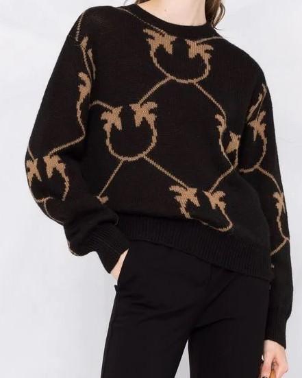 Pullover Jacquard Love Birds Schwarz