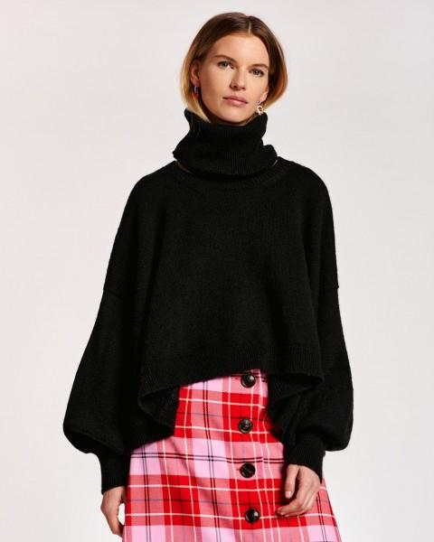 Übergroßer Pullover mit separatem Kragen Cape-Effekt Schwarz