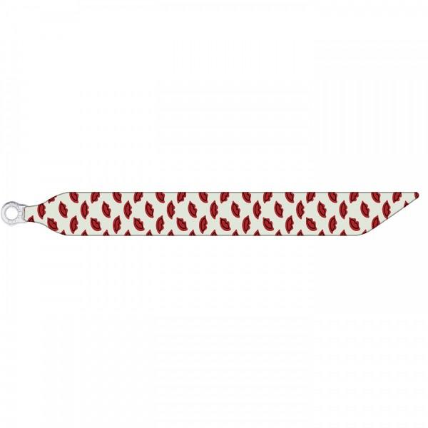 Seidenarmband mit einem versilberten Verschluss mit Muster RED LIPS