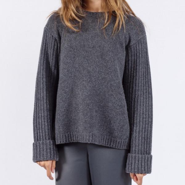 Pullover Rippenärmel Anthra Schwarz