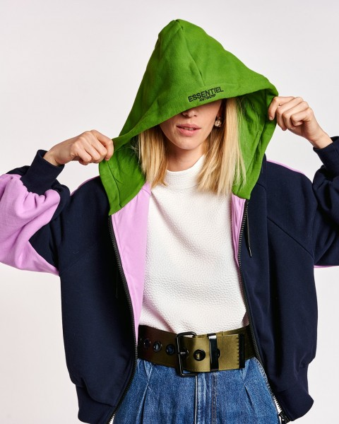 Sweatshirtjacke mit Kapuze Marine / Grün / Flieder