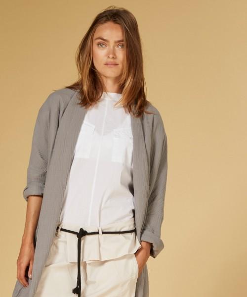 Bluse mit Pattentaschen ohne Arm in Weiß