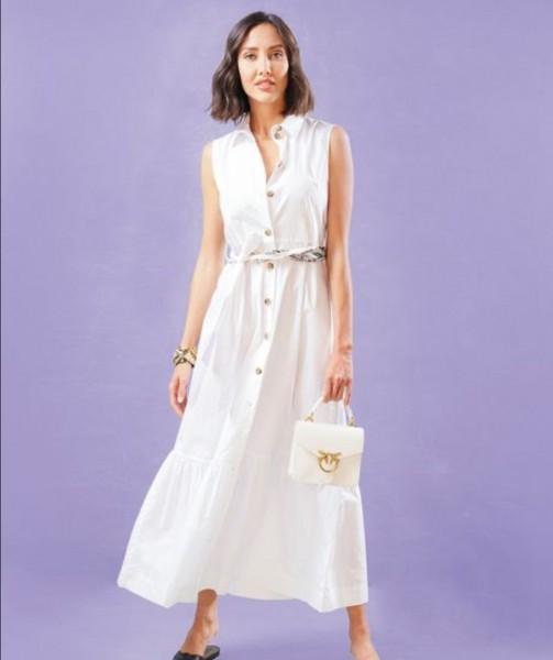 Hemdblusenkleid ohne Arm Popeline Weiß