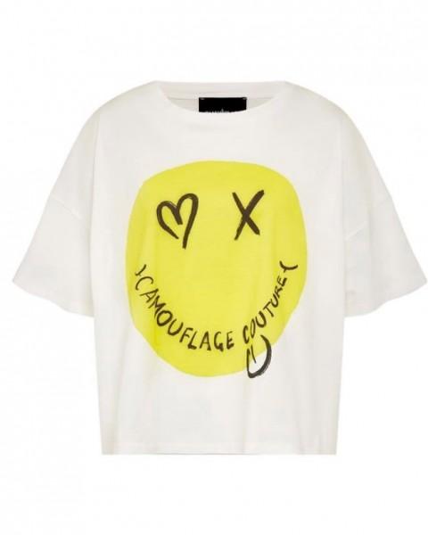 T-Shirt mit großem Smiley in Weiß mit Gelb