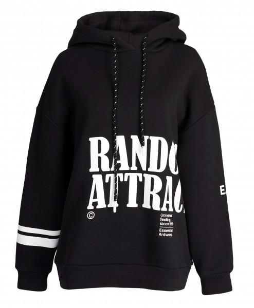 Sweatshirt mit Kapuze in Schwarz mit weißem Druck