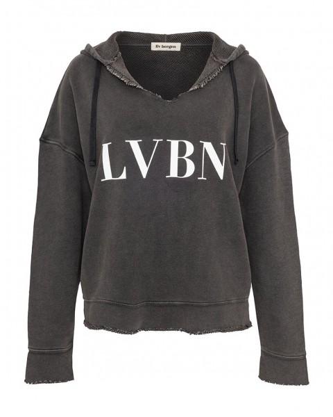 Hoodie mit V-Ausschnitt und LVBN Print in Grafit