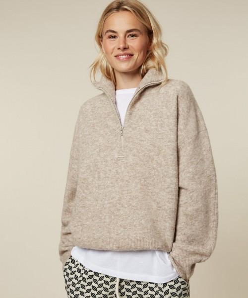 Pullover in Alpaka-Mix mit Stehkragen mit Reißverschluss Cement