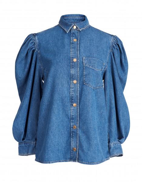 Jeansbluse mit Puffärmel in Blue-Denim
