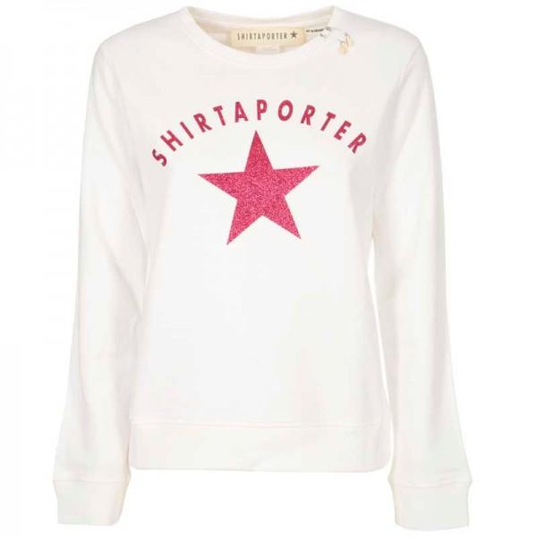 Sweatshirt Organic Cotton Weiß mit Pink Stern