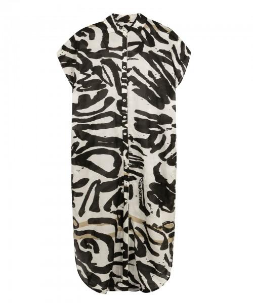 Kaftan / Hemdblusenkleid ohne Arm aus Baumwolle Seide Mix Pinsel Druck Ecru