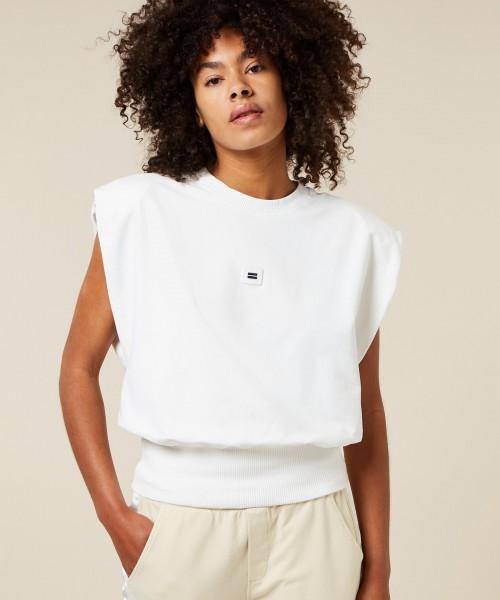 Ärmelloses Sweatshirt mit Schulterpolster Ecru