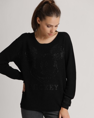 Pullover aus Wolle mit Mickey Mouse in Strass Schwarz