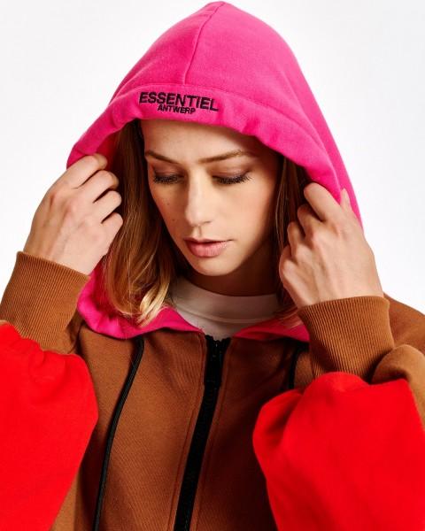 Sweatshirtjacke mit Kapuze Caramel / Rot / Pink