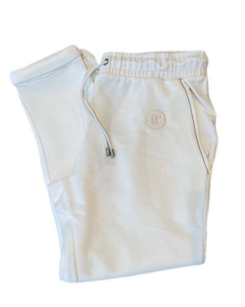Sweat-Pants mit Aufschlag in Ecru