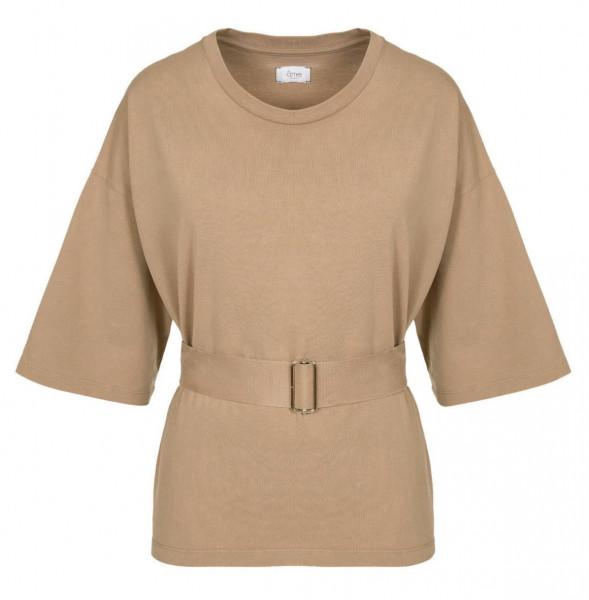 T-Shirt mit Gürtel, weit geschnitten in Altrose, Schwarz, Grafit