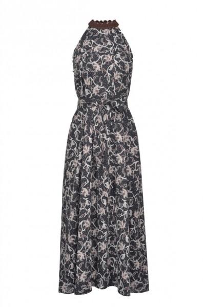 Neckholder Kleid mit Floralem Print Dunkelblau